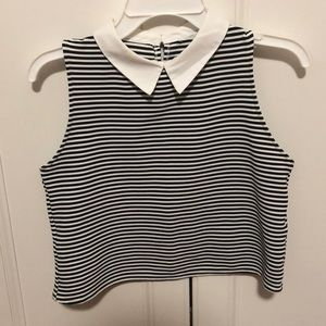 Striped sleeveless collared top